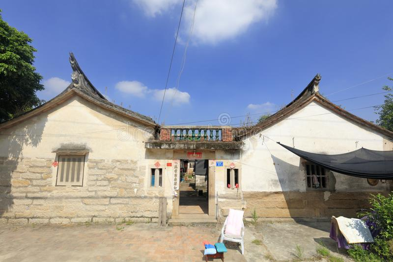 农夫` s孪生石头房子在zhaojiabao村庄,多孔黏土rgb 图库摄影