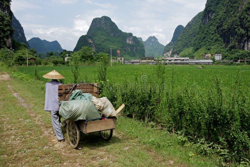 农村中国的农夫 库存照片