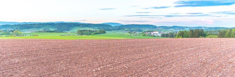 农村农业风景 在新帕卡,捷克附近的红色土壤领域 免版税库存照片