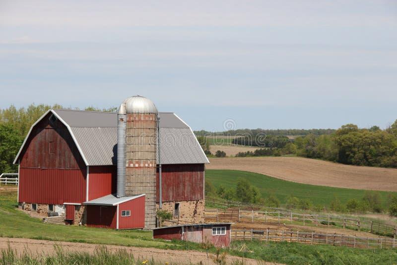 农村农场在中西部 免版税库存图片