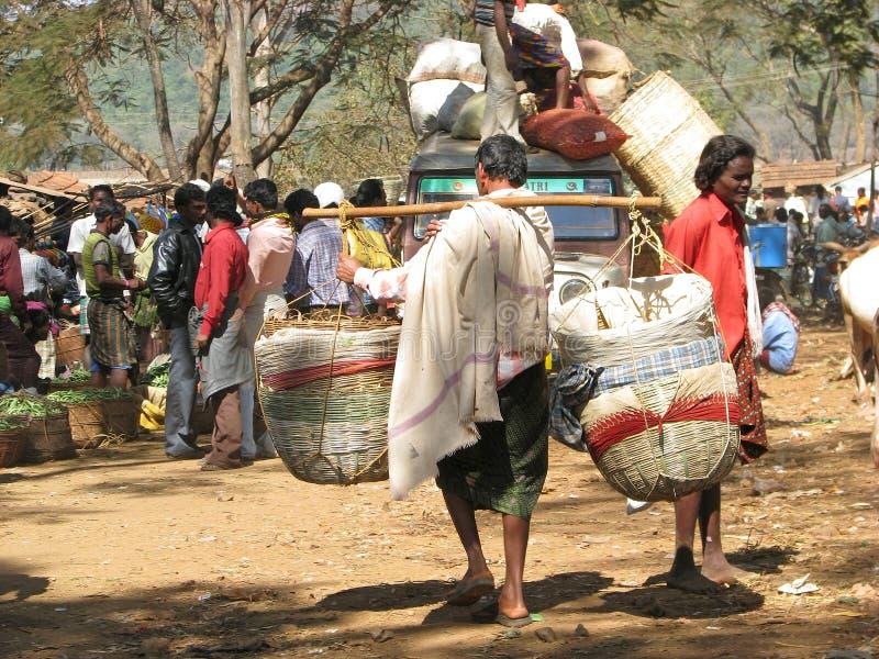 农村区印第安的市场 库存照片