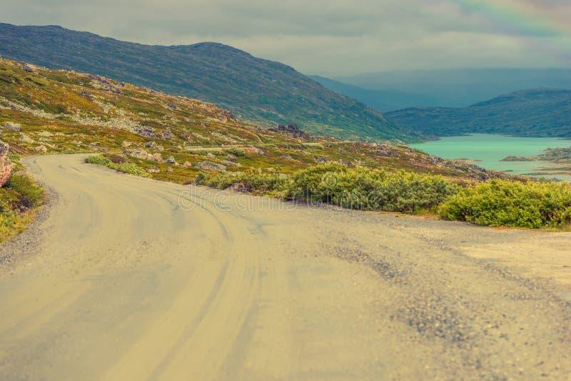 农村挪威风景路 免版税图库摄影