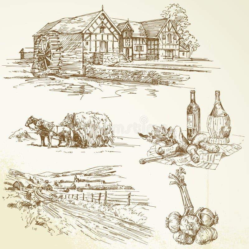 农村横向,农业,老watermill 库存例证