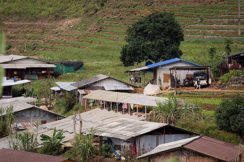 农村泰国村庄 图库摄影