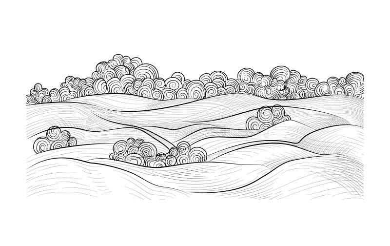 农村的横向 乡下自然地平线背景 向量例证