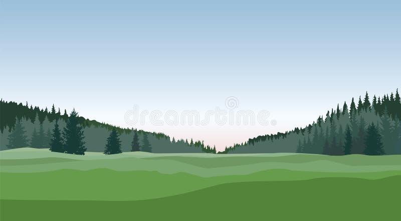农村的横向 乡下自然地平线背景 皇族释放例证