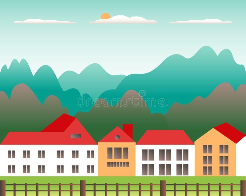 农村谷农厂乡下 与大农场的村庄风景平的样式设计的 与房子农厂家庭,大厦的风景, 库存例证