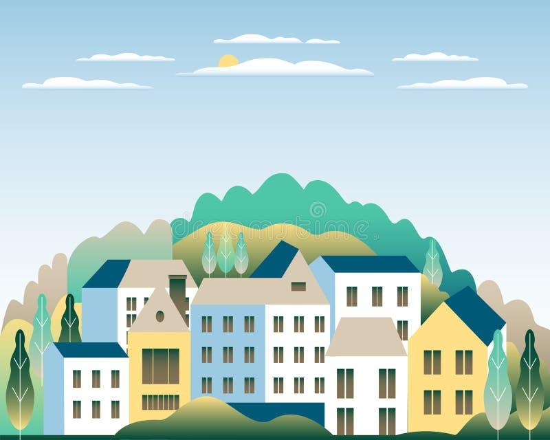 农村谷农厂乡下 与大农场的村庄风景平的样式设计的 与房子农厂家庭,大厦的风景, 皇族释放例证