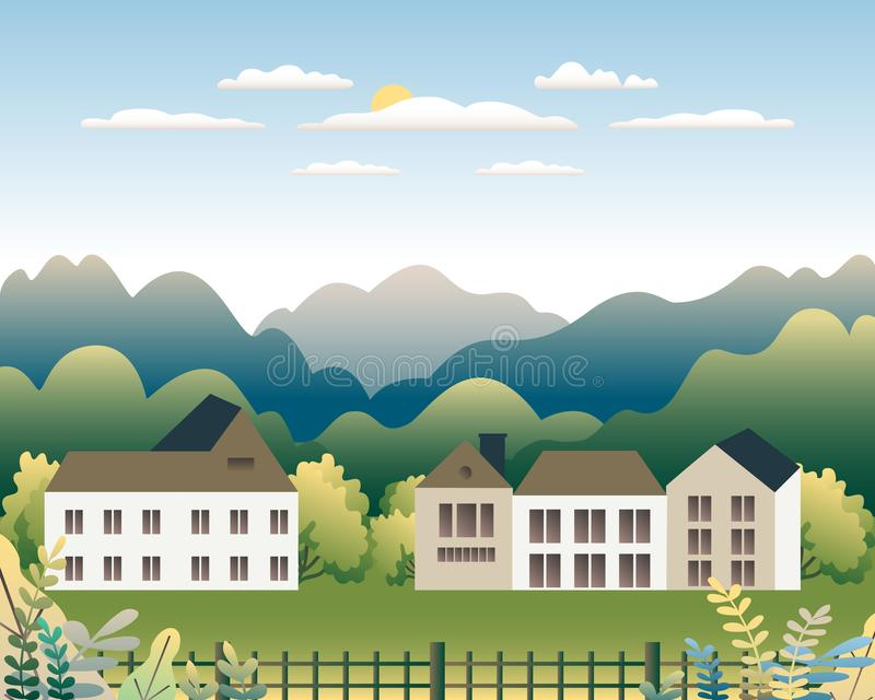 农村谷农厂乡下 与大农场的村庄风景平的样式设计的 与房子农厂家庭,大厦的风景, 向量例证