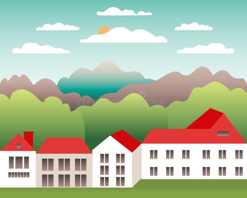 农村谷农厂乡下 与大农场的村庄风景平的样式设计的 与房子农厂家庭,谷仓,大厦的风景 皇族释放例证