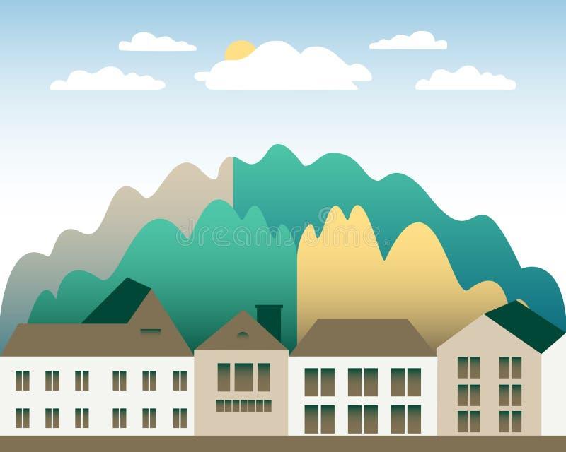农村谷农厂乡下 与大农场的村庄风景平的样式设计的 与房子农厂家庭,谷仓,大厦的风景 库存例证