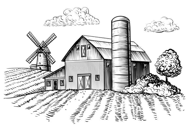 农村风景、农厂谷仓和风车剪影 免版税库存照片