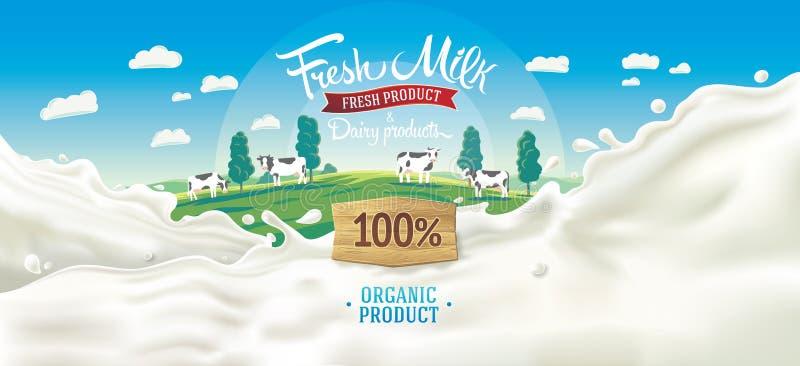 农村风景和飞溅牛奶 向量例证
