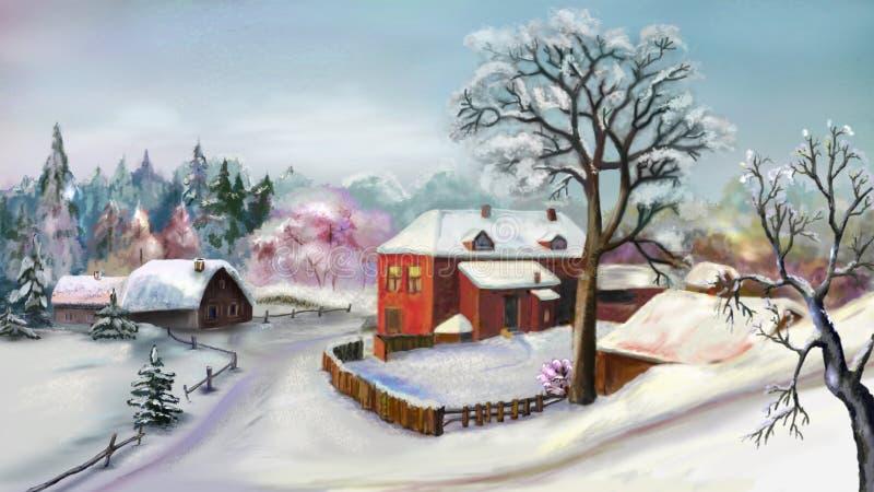 农村风景在冬日 向量例证
