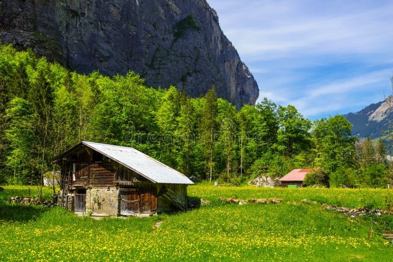 农村风景在卢达本纳,瑞士 免版税图库摄影