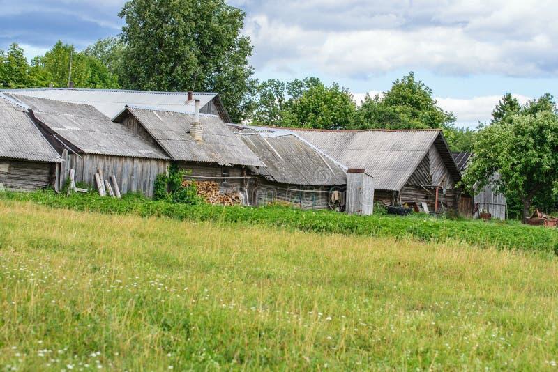 农村风景,一条村庄街道的后部有木柴和菜园的 免版税库存图片
