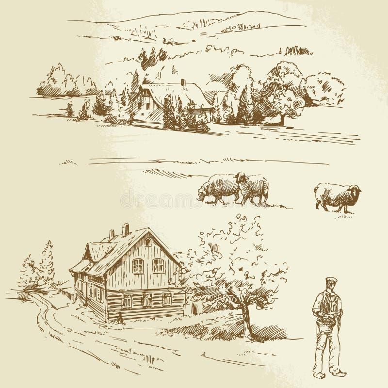 农村风景,农业,农场 库存例证