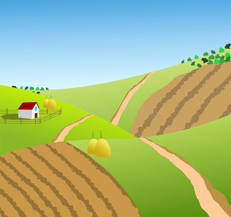农村风景,村庄根据风景 免版税库存图片