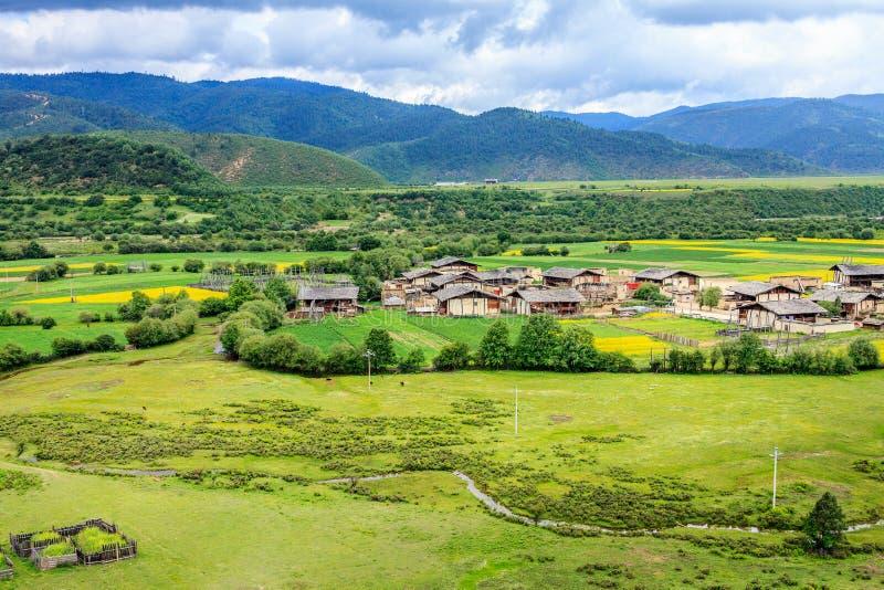 农村风景,香格里拉 免版税库存照片