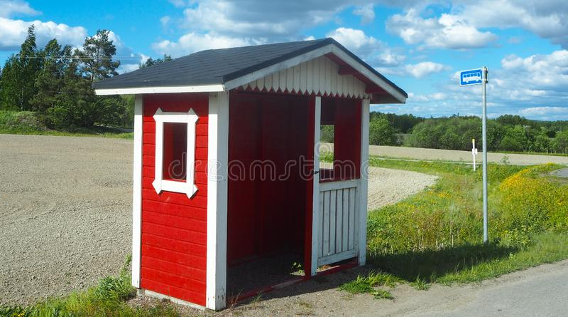 农村busstop在芬兰 图库摄影