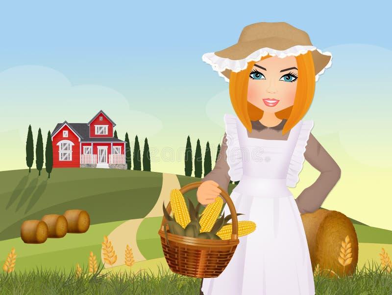 农民女孩在乡下 向量例证