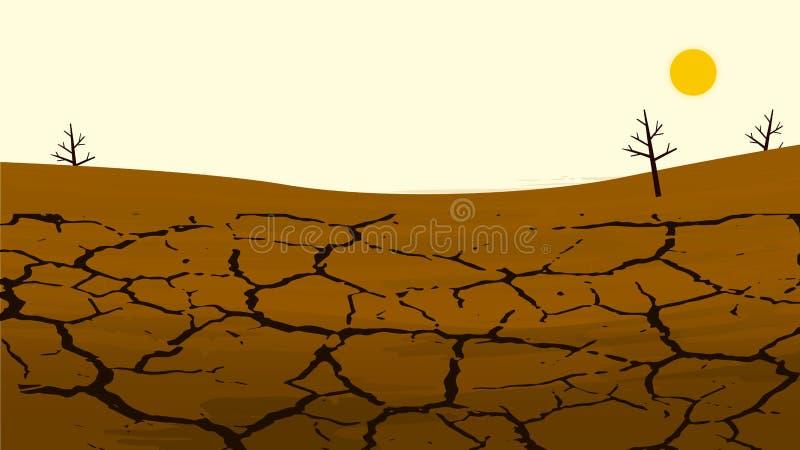农田的干燥破裂的土地 农村的横向 信息的设计元素 向量例证