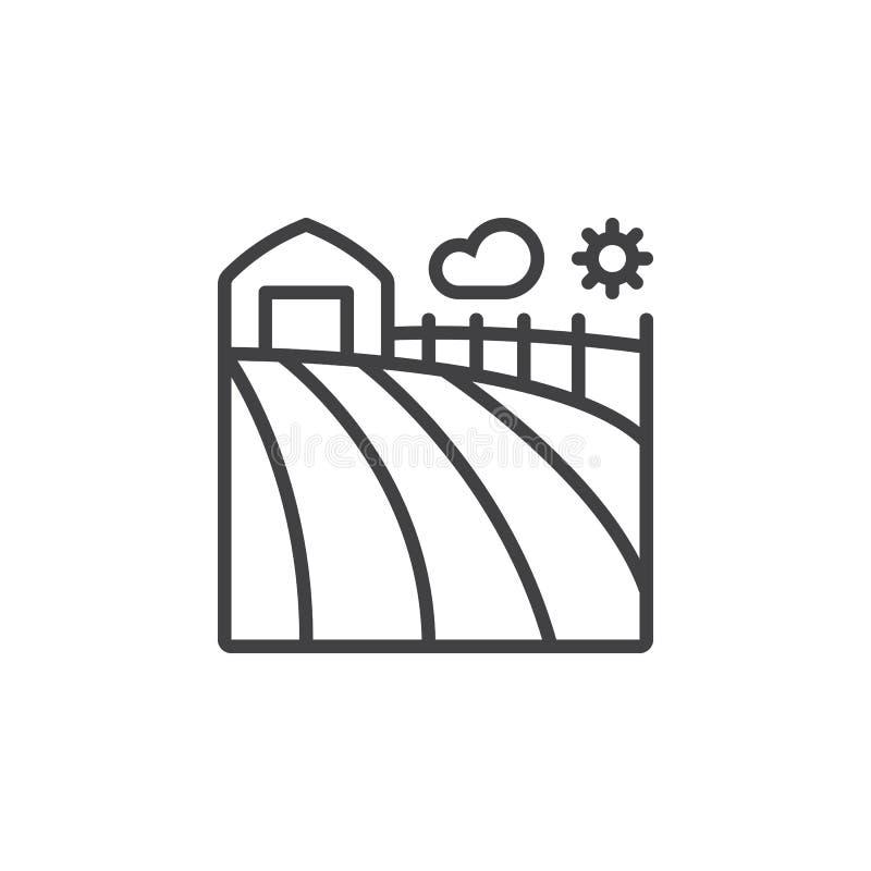 农田线象,概述传染媒介标志,线性图表isol 向量例证