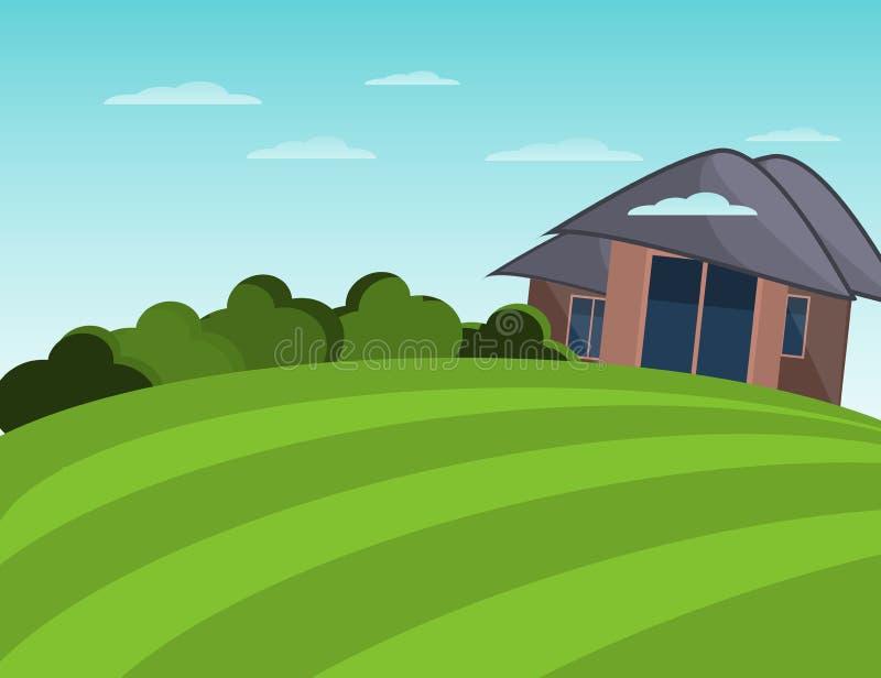 农舍和领域 平安的横向 平的例证 库存例证