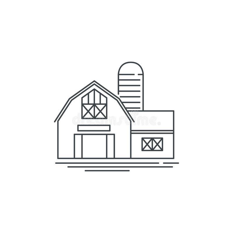 农舍谷仓线象 概述在白色背景隔绝的马厩传染媒介线性设计的例证 农场 皇族释放例证