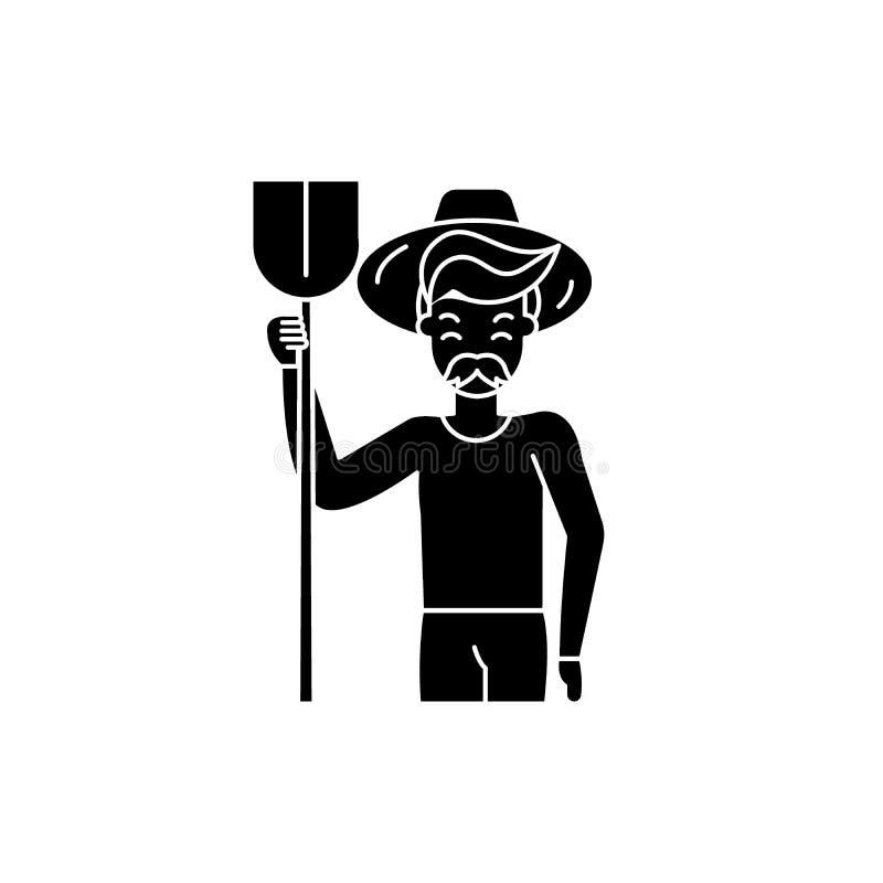 农艺师黑色象,在被隔绝的背景的传染媒介标志 农艺师概念标志,例证 库存例证