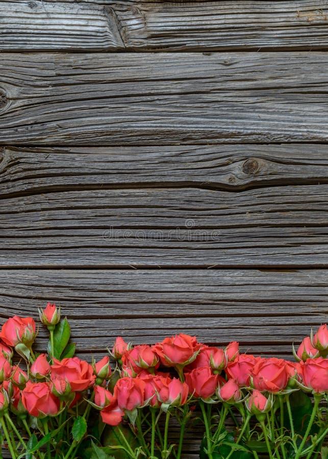 冠上在玫瑰色捆绑的看法下木表面上 免版税库存照片