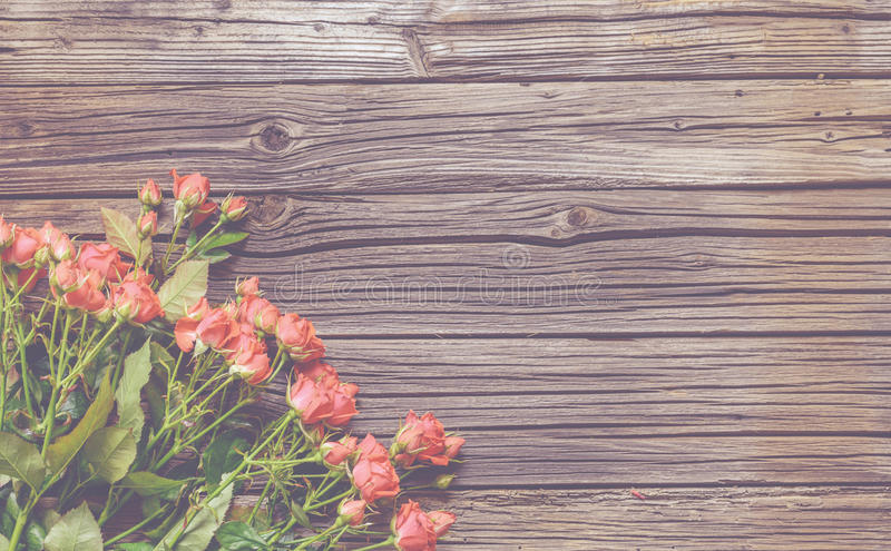 冠上在玫瑰色捆绑的看法下木表面上 库存照片