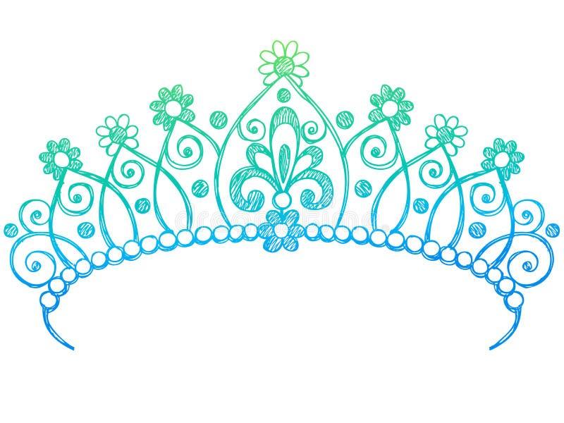 冠乱画笔记本公主概略冠状头饰 库存例证