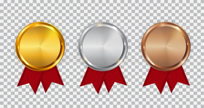 冠军与红色丝带的金,银色和铜牌模板 首先,第二个和第三名o的象标志 库存例证