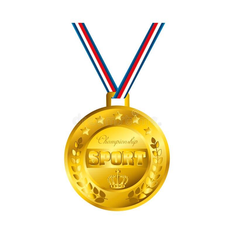 冠军体育奖牌象 向量例证