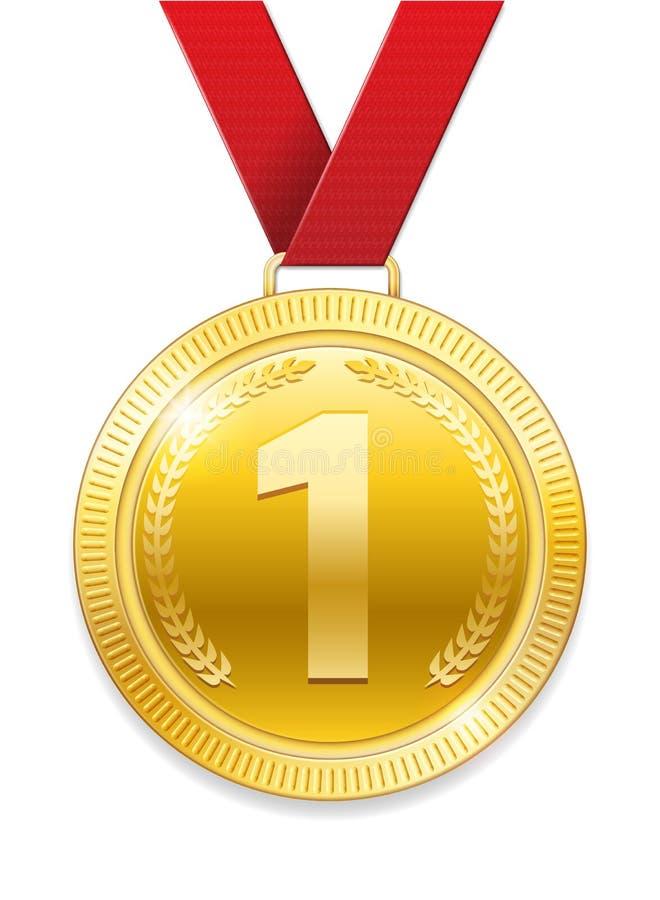 冠军奖体育奖的金牌 与在白色背景隔绝的红色丝带的发光的奖牌 也corel凹道例证向量 库存例证