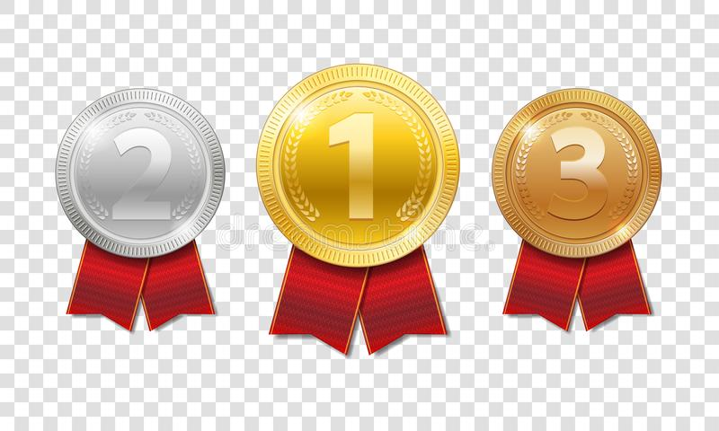 冠军奖奖牌体育奖 金子、银和古铜授予与在透明隔绝的红色丝带的奖牌 向量例证