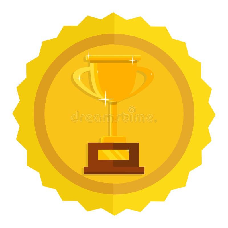 冠军战利品平的象 杯子金黄赢利地区 冠军和l 向量例证