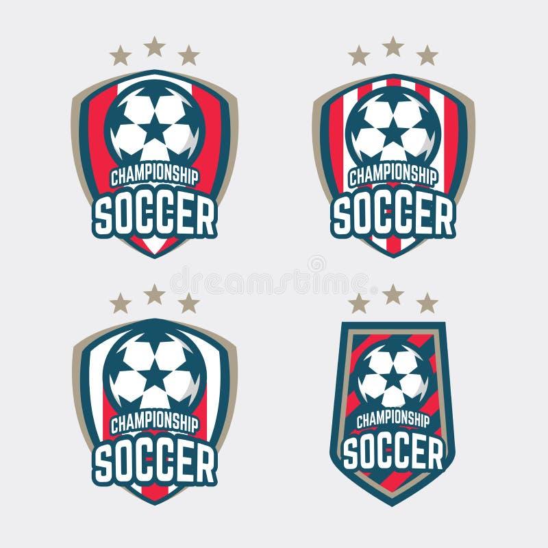 冠军足球商标或橄榄球俱乐部标志徽章集合 向量例证
