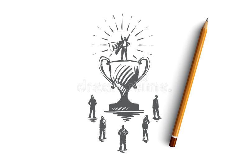 冠军,成功,胜利,商人,超人概念 手拉的被隔绝的传染媒介 向量例证