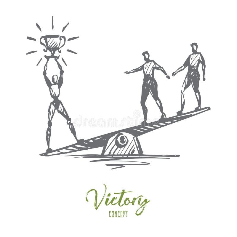 冠军,成功,胜利, HCI,自动化,技术概念 手拉的被隔绝的传染媒介 向量例证