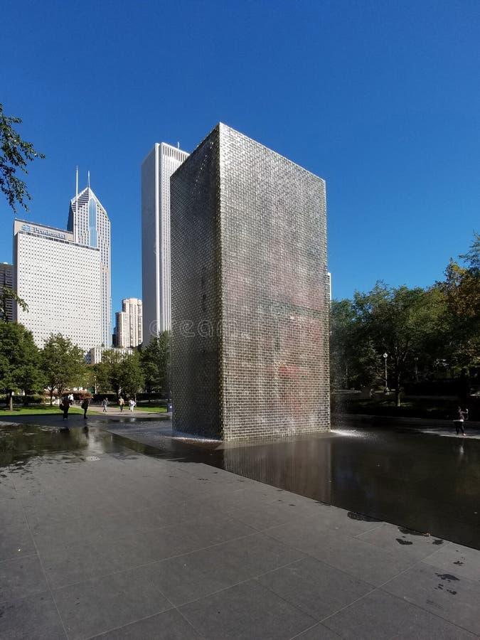 冠喷泉在千禧公园,芝加哥 免版税库存照片