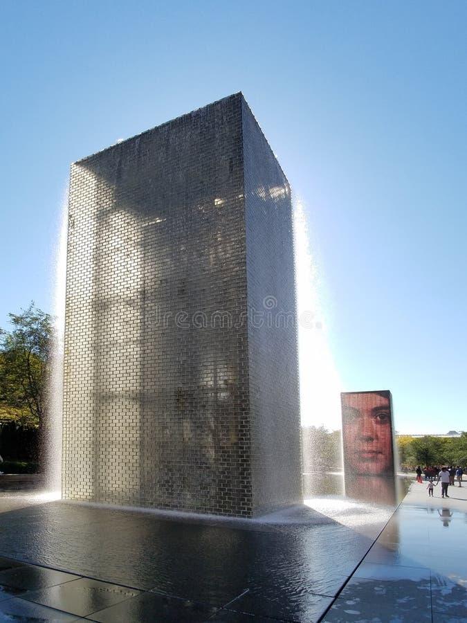 冠喷泉在千禧公园,芝加哥 免版税库存图片