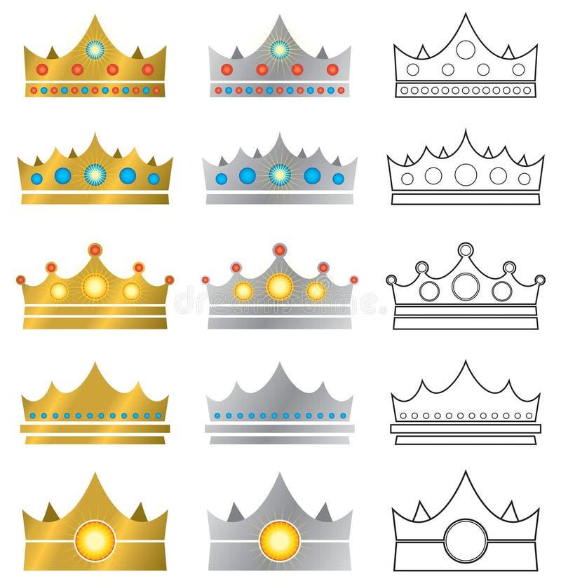 冠徽标图标 皇族释放例证