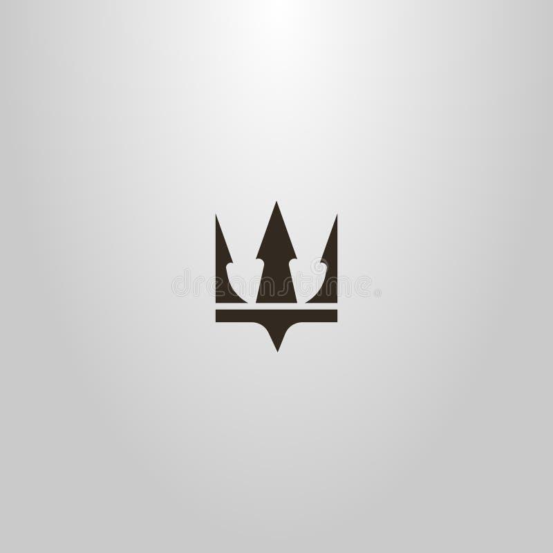 冠或三叉戟波塞冬的简单的平的艺术传染媒介标志 库存例证