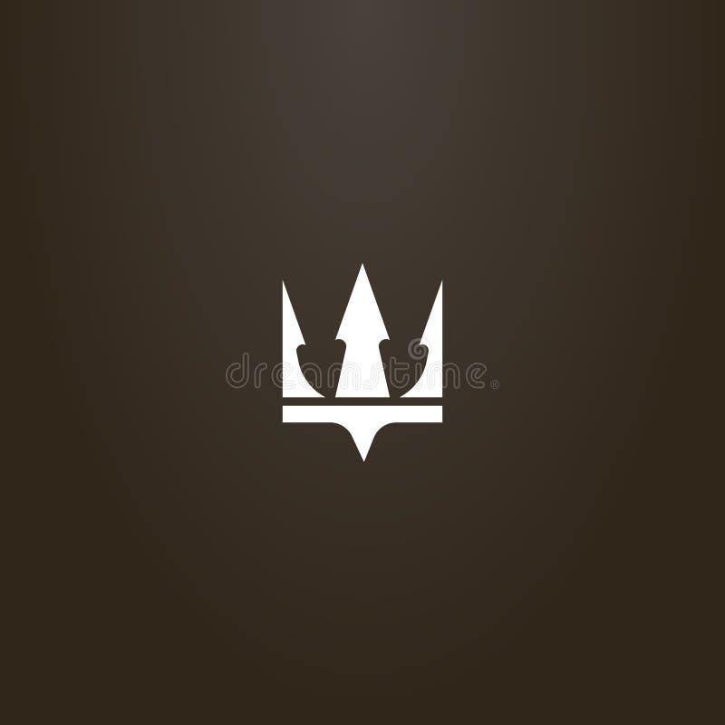 冠或三叉戟波塞冬的简单的平的艺术传染媒介标志 向量例证