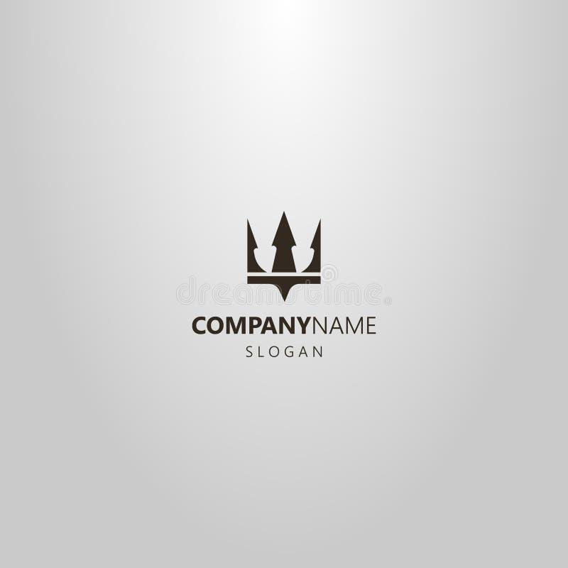 冠或三叉戟波塞冬简单的平的艺术传染媒介商标  库存例证