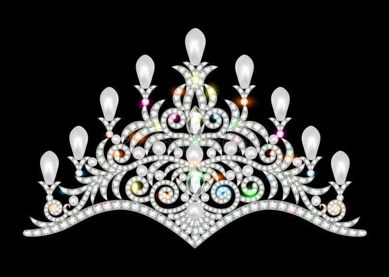 冠有闪烁的宝石的冠状头饰妇女 向量例证