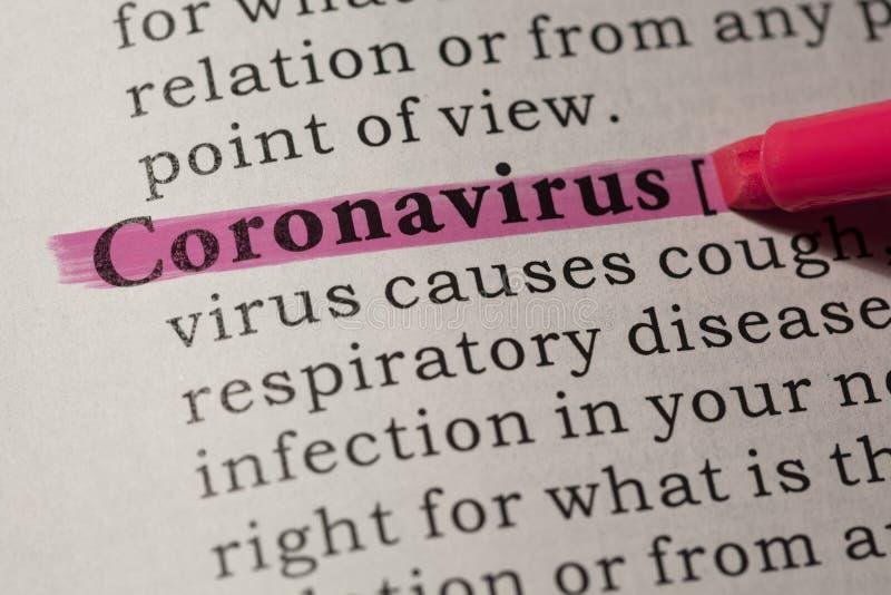冠状病毒的定义 免版税图库摄影