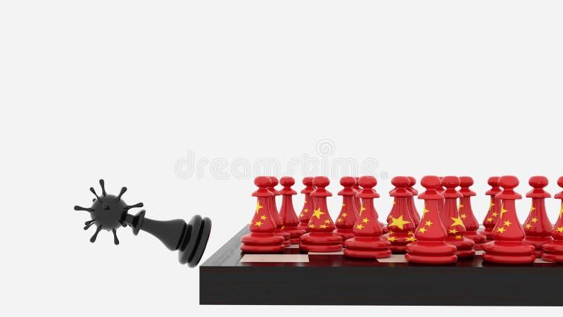 冠状病毒COVID19中国象棋棋子和病毒隐藏 向量例证